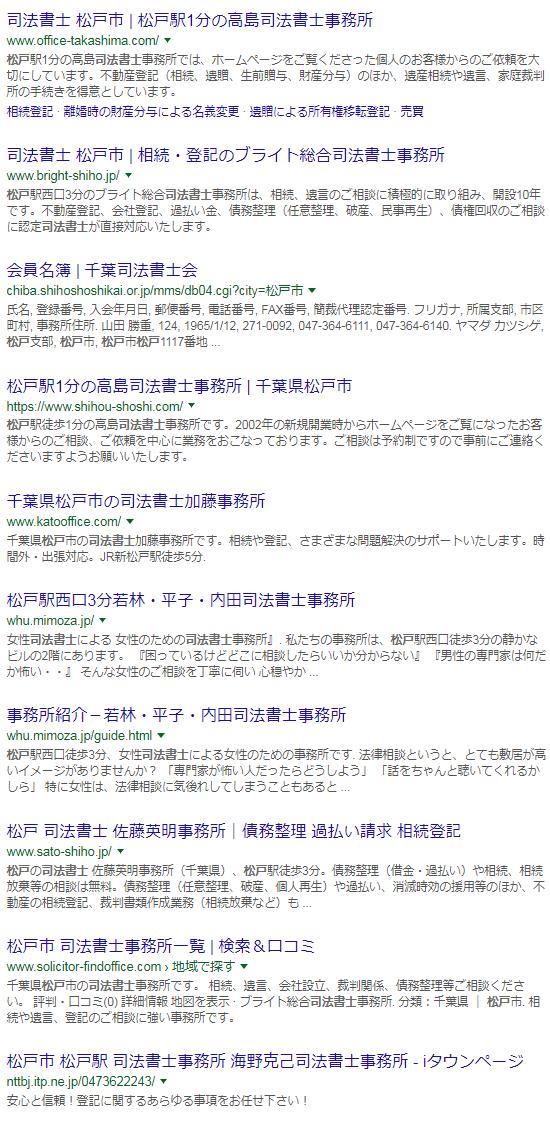 司法書士松戸の検索結果(2017/09/12)